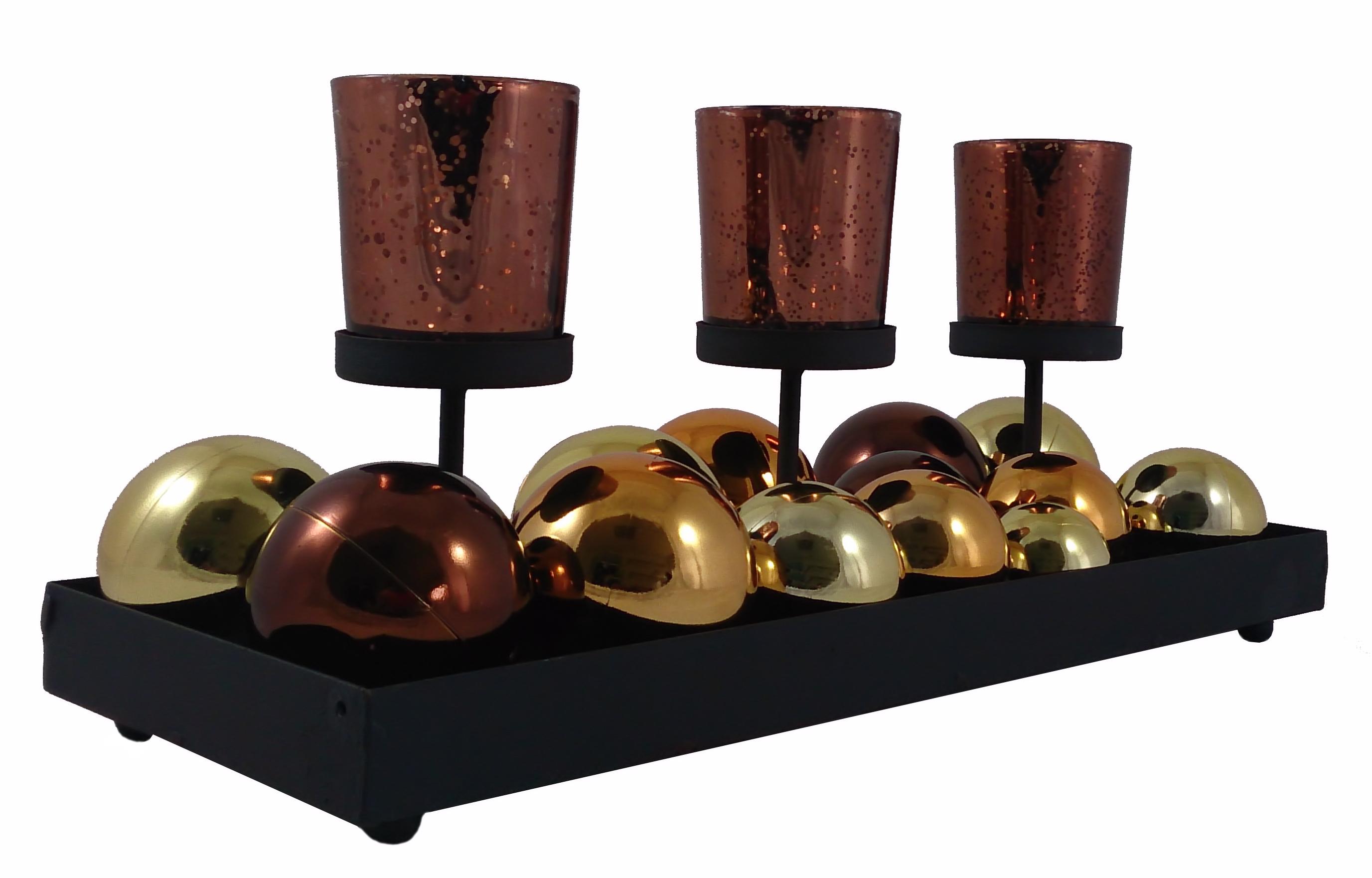 d coration de no l verre photophore sur 3 metalhaltern avec boules d coratives ebay. Black Bedroom Furniture Sets. Home Design Ideas