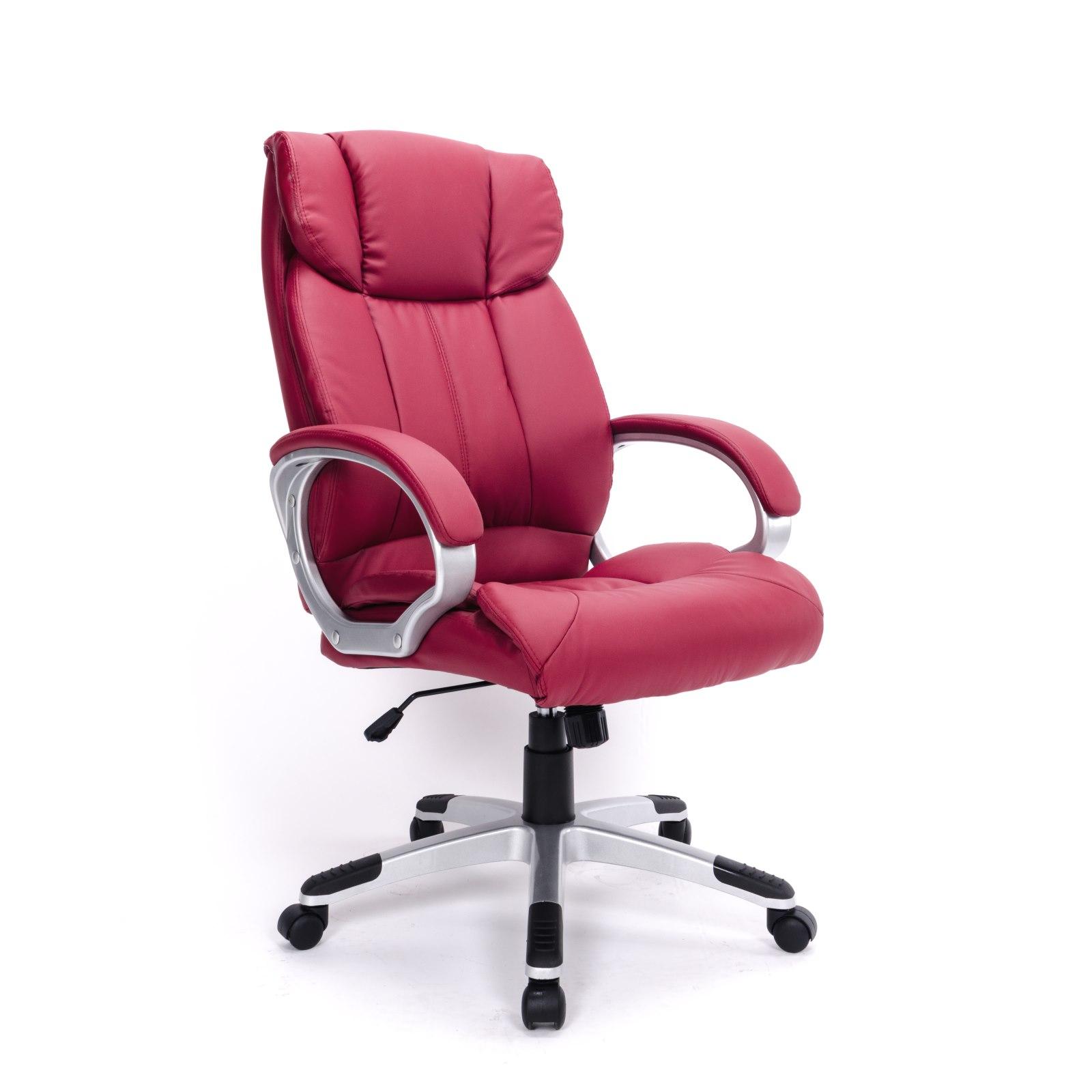 Silla de oficina imitaci n piel silla ejecutiva rojo for Sillas de imitacion
