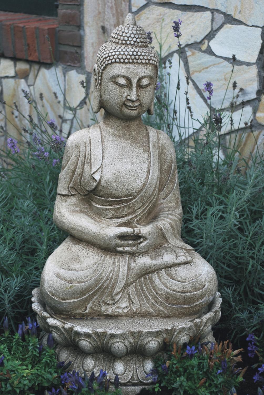 dekobrunnen gartenbrunnen brunnen buddha innen u au en sandsteinoptik gro. Black Bedroom Furniture Sets. Home Design Ideas