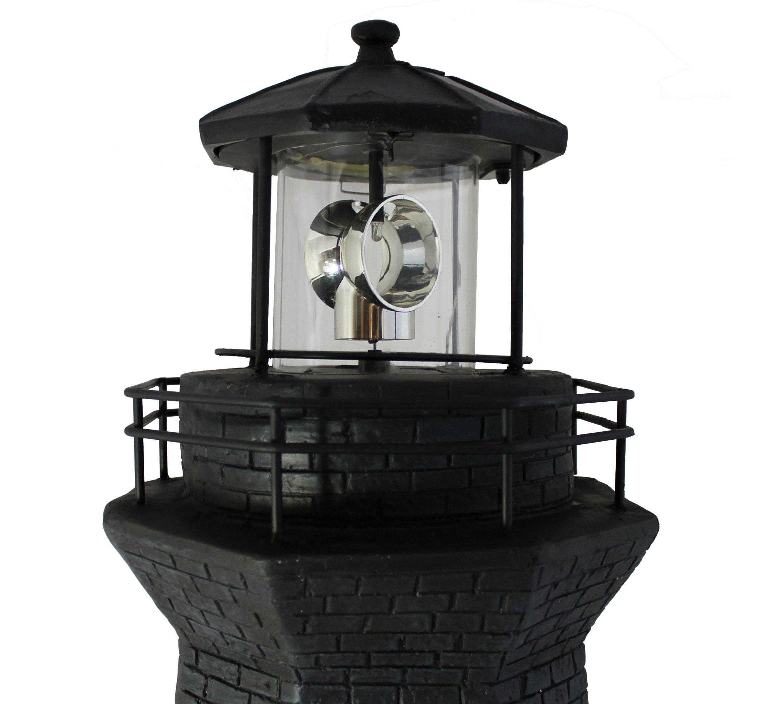 solar leuchtturm gro 76 cm schwarz wei dekoration f r den garten am teich mit ebay. Black Bedroom Furniture Sets. Home Design Ideas