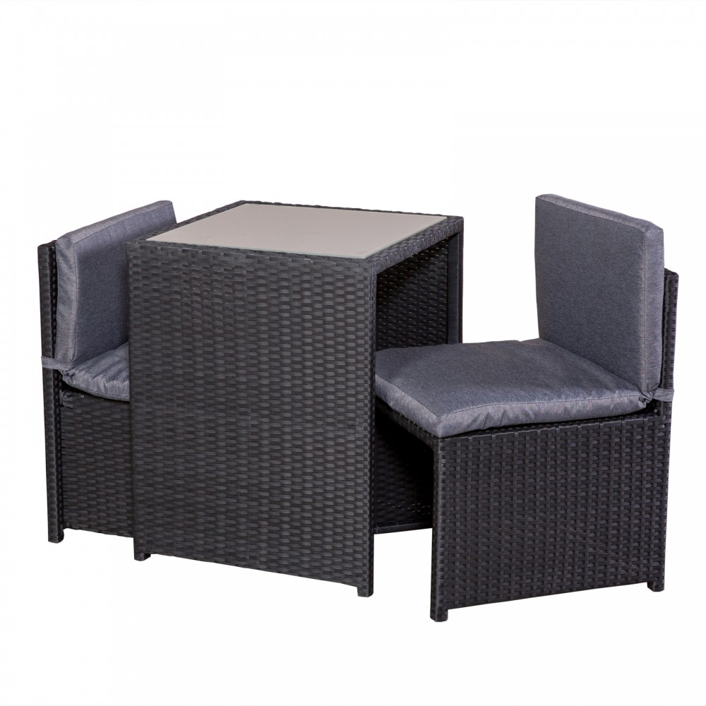 Balkonset rattan tisch 2 sessel 2 polster balkonm bel for Set balcone