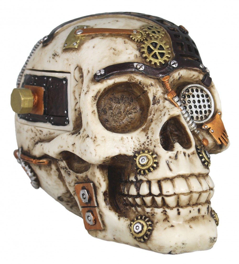Dekofigur Steampunk Totenkopf mit Geheimfach Science-Fiction Deko Dekoration