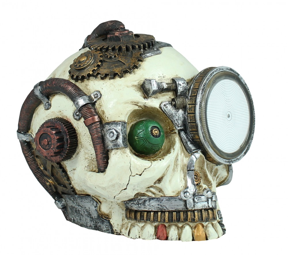 Dekofigur Steampunk Totenkopf mit Plasmalampe Science-Fiction Deko Dekoration