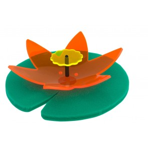 Teichdeko schwimmend Seerose künstlich Light Catcher 3D orange-gelb Teichblume Made in Germany