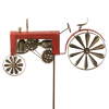 Windrad Windspiel Trecker Traktor rot Metall Windrad Garten Dekoration Doppel Windrad