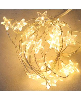 LED-Lichterkette MICRO STERN 20 Leuchten Lichtfarbe warmweiß Batteriebetrieb Weihnachtsdeko Innenraum