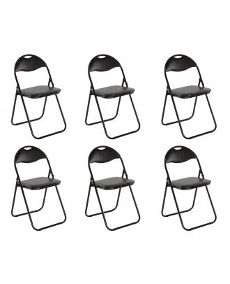 Klappstuhl gepolstert schwarz Metall 6er Set Küchen Klappstuhl Campingstuhl Gästestühle