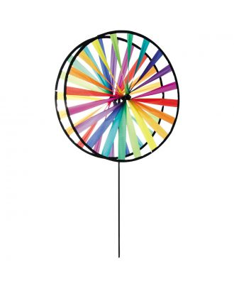 Windspiel HQ Magic Wheel Giant Duett Rainbow mit Bodenanker Windrad