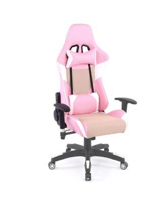 Gamer Stuhl Bürostuhl Zocker Stuhl Gaiming Stuhl pink beige