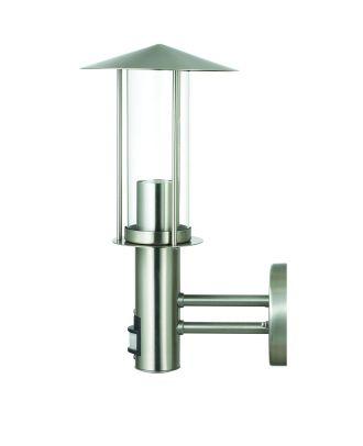Wandleuchte Bewegungsmelder aus Edelstahl mit Klarglas Lampenschirm Eingangsleuchte Gartenlampe Außenleuchte