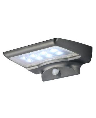 Solar LED Gartenbeleuchtung mit Bewegungsmelder Solar Außenbeleuchtung Außenleuchte dunkelgrau Wandleuchte