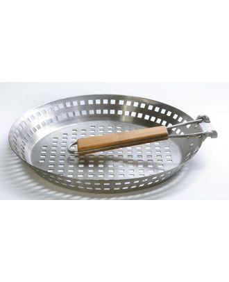 BBQ Grillpfanne klappbarer Griff Edelstahl Gemüsepfanne Ø 31 cm Grillgemüse