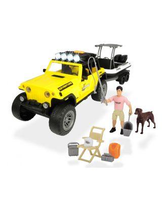 Dickie Toys Playlife-Fishing Set Jeep Geländewagen mit Boot und Actionfigur