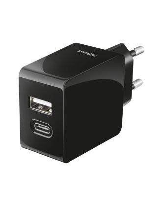 Trust USB Ladegerät 2 fach (USB-C und USB-A) Smartes Wandladegerät Ladestation