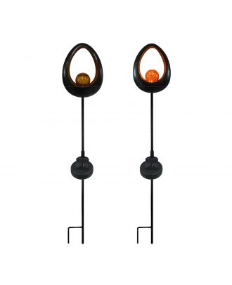 Solar LED Gartenstecker mit Glaskugel Solarleuchte Oval Bronze Optik Herbstdeko