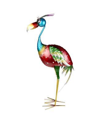 Dekofigur exotischer Vogel 66 cm Teichfigur Metallfigur Gartendeko Teich Fischteich