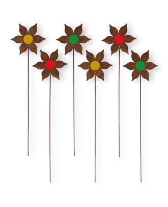 Gartenstecker Rost Blumen bunt 6 Stück Rost Deko Gartenstecker Blumen