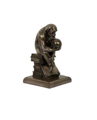 Dekofigur, Tierdeko Affe mit Schädel, Darwin, Rheinhold bronziert sehr detailgeträu