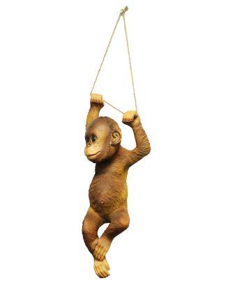 Dekofigur Affe Orang Utan am Seil Gartenfigur Dekorationsfigur Tierfigur Hauptbild