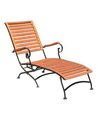 Deckchair Gartenliege WIEN Armlehnen Stahlgestell lackiert Holz Eukalyptus FSC 100% Sonnenliege