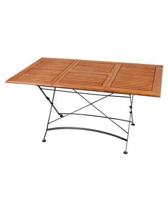 Ausziehtisch Gartentisch WIEN rechteckig Länge 100-150cm Stahlgestell lackiert Holz Eukalyptus FSC 100%
