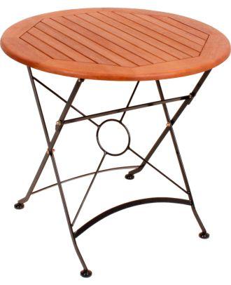 Gartentisch WIEN klappbar rund Ø 80 cm Stahlgestell lackiert Holz Eukalyptus FSC 100%