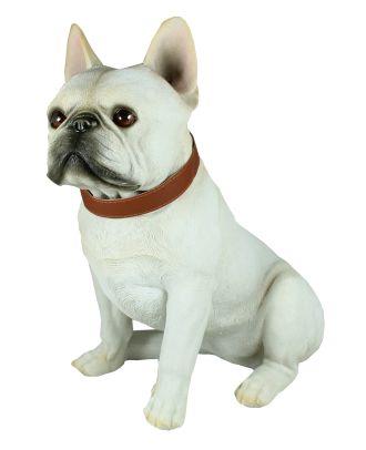 Figur französische Bulldogge Carlos mit Halsband Tierfigur lebensecht wirkende Skulptur Gartenfigur Hund
