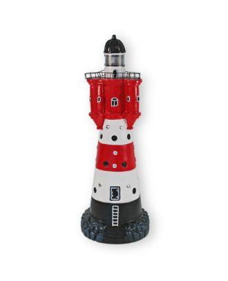 Solar Leuchtturm Roter Sand 50 cm Deko Leuchtturm mit Licht Maritime Deko Leuchtturm Solar