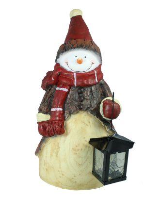 """Weihnachtsdekoration Figur Schneemann """"Flocki"""" mit Laterne Weihnachtsmann Gartenfigur"""