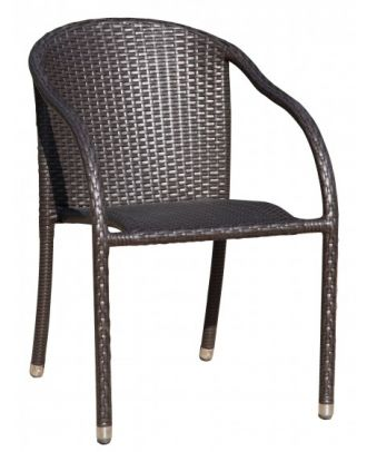 Gartenstuhl Stapelstuhl Armlehnstuhl RIGA 2er Set Aluminium Kunststoffgeflecht Coffee Polyrattan Outdoor