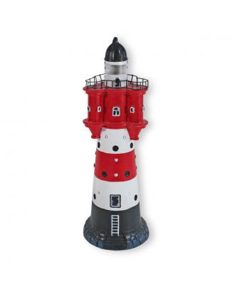 Leuchtturm Roter Sand 33 cm Deko Leuchtturm mit Licht Maritime Deko LED Beleuchtung