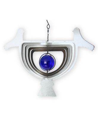 Windspiel Edelstahl 3D Windspiel Vogel mit Echtglaskugel Windspiel Garten Edelstahl