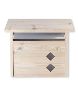 Briefkasten aus Holz Lärchenholz mit 2 Rauten
