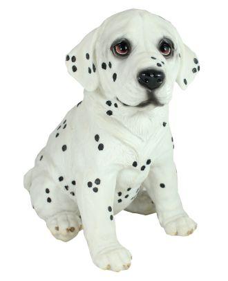 Figur Dalmatiner Welpe Pauli sitzend Tierfigur lebensecht wirkende Skulptur Gartenfigur Hund