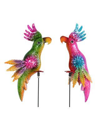 Metall Gartenstecker Papagei Vogelpaar Happy und Sunny Windspiel