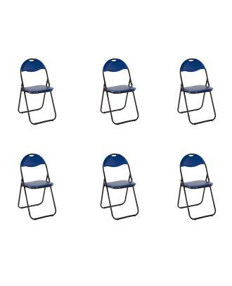 Klappstuhl gepolstert blau Metall 6er Set Küchen Klappstuhl Campingstuhl Gästestühle