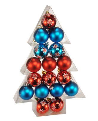Weihnachtskugeln Christbaumkugeln rot blau Kunststoff 17 Stück Set 5 cm Durchmesser