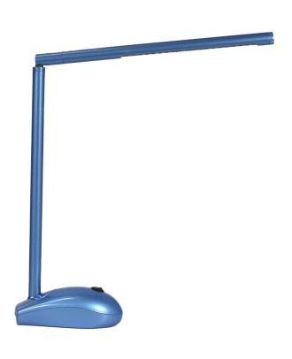 LED Schreibtischlampe blau mit Akku- und Netzbetrieb / USB- Port PC Maus Optik Tisch Lampe