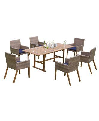 Polyrattan Gartenmöbelset 13 teilig 6 Gartensessel 1 Gartentisch FSC® 6 Auflagen Möbelset  Hauptbild