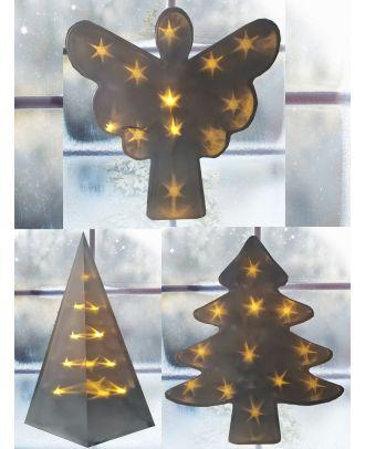 Weihnachtsdeko Fenster LED in 3D Optik Pyramide Engel Weihnachtsbaum mit Holografie-Folie Sterneffekt