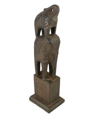 Elefanten Figur Holz 2 Elefanten handgeschnitzt  Elefanten Deko Figuren Skulpturen