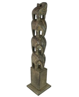 Elefanten Figur Holz 4 Elefanten handgeschnitzt Elefanten Deko Figuren Skulpturen