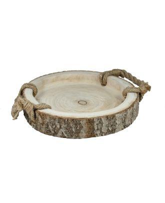 Holztablett mit Rinde und Griffen 30 cm Tablet Weihnachtsdeko Dekotablett naturbelassen