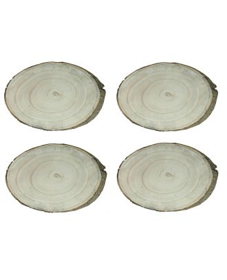Baumscheiben mit Rinde 4 Stück 26x16 cm Tischdeko Weihnachtsdeko Holzscheibe Rindenscheibe