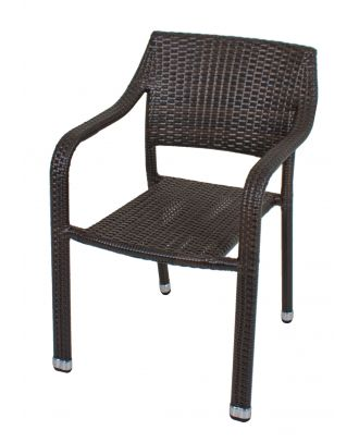 Gartenstuhl Stapelstuhl Armlehnstuhl CHARLESTON 4er Set Aluminium Kunststoffgeflecht Coffee Polyrattan Outdoor