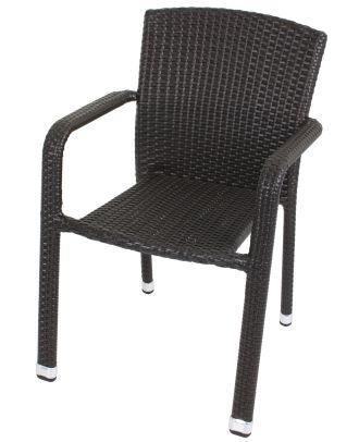 Gartenstuhl Stapelstuhl Armlehnstuhl GETAFE 2er Set Aluminium Kunststoffgeflecht Dunkelgrau Polyrattan Outdoor