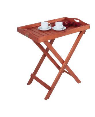 Tablettständer DALLAS Serviertablett Beistelltisch Ablagetisch Holz Eukalyptus