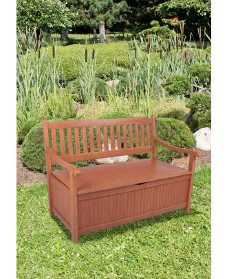 Gartenbank HOUSTON 2-Sitzer mit Staufach Sitzbank Holz Eukalyptus