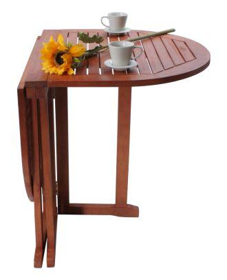Balkontisch Holz oval BALTIMORE Länge 120 cm beidseitig klappbar Gartentisch Eukalyptus FSC 100%