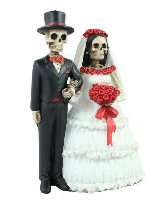 Dekofigur Brautpaar Gothic Skelett Hochzeitsgeschenk Hochzeitspaar